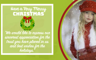 """Corporate Xmas Cards:""""We would like to express our sincerest appreciation for the trust you have placed in us and best wishes for the holidays."""""""